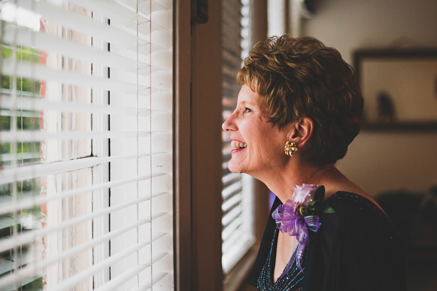 mother looking at guests arriving
