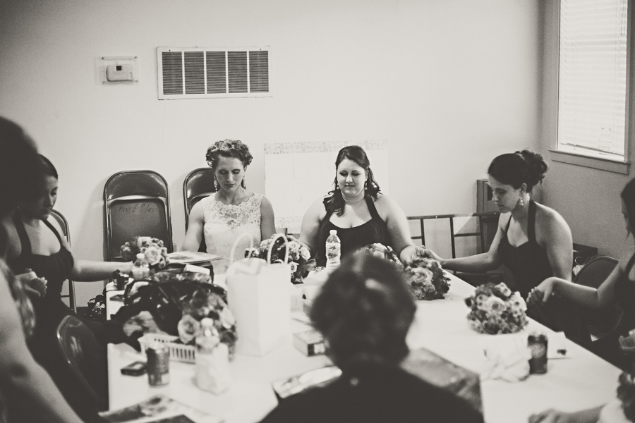 bridal party praying
